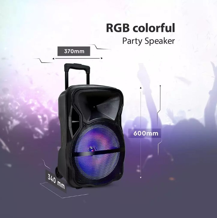 50W Rechargeable Trolley Speaker with Microphone-RF-RGB (15inch)