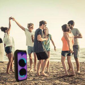 100W Rechargeable Trolley Speaker RGB - 1 WirMicrophone - 2 Sub Woofer 10 Inch- RF Control