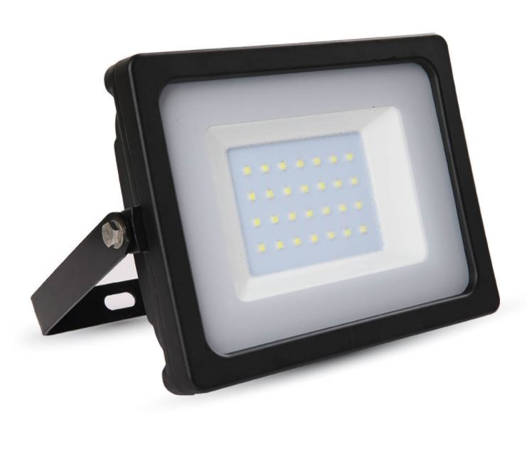 30W Slimline Floodlight Black 6000K