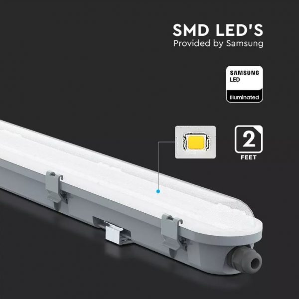 18W LED Waterproof Fitting - 60cm/2ft - Milky Cover - Samsung Chip