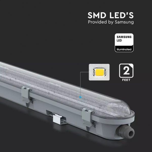 18W LED Waterproof Fitting - 60cm/2ft - Transparent Cover - Samsung Chip