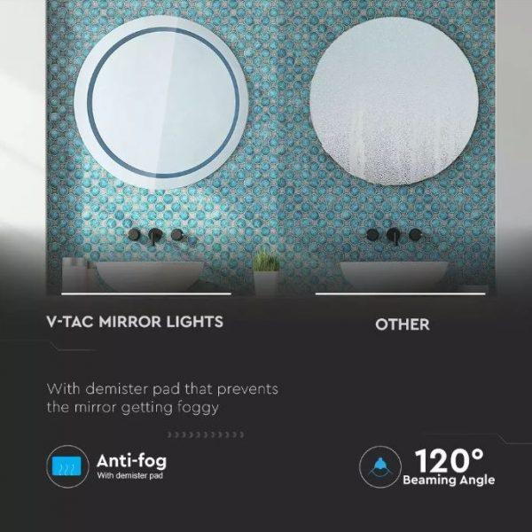 25W LED Round Mirror Light Anti-Fog 6400K 60cm
