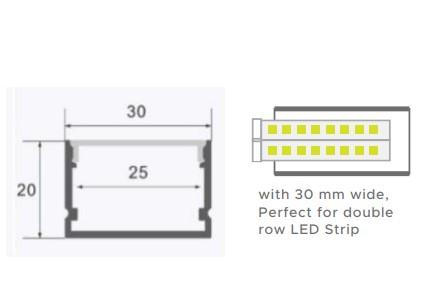 Aluminium Profile with Diffuser 30mm