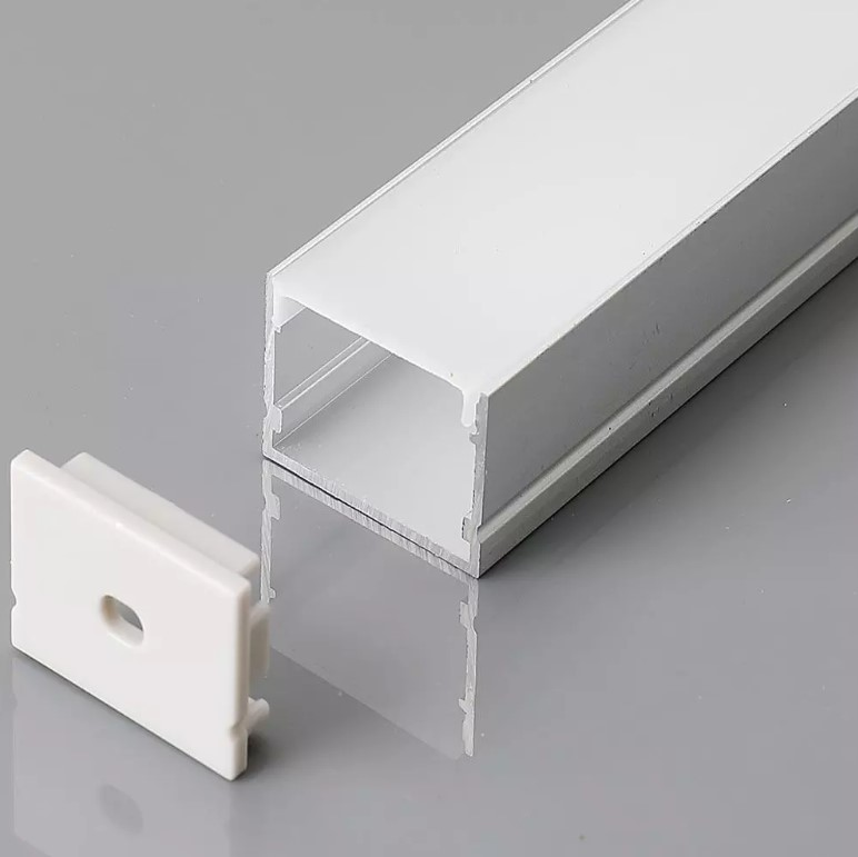 Aluminium Profile with Diffuser - Mounting Kit for LED Strip - Milky cover 30mm
