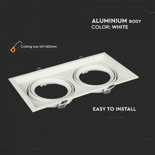 2xAR111 Housing Square Double White/ Black