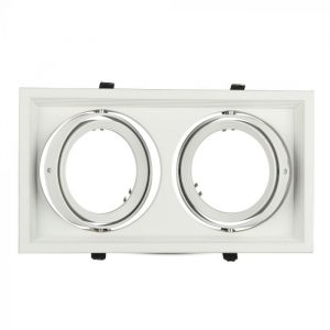 2xAR111 Housing Square Double White/ Black