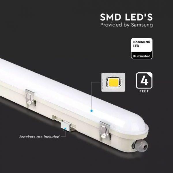 36W LED Emergency Waterproof Fitting 4 feet /120cm - Milky Cover - Samsung Chip IP65