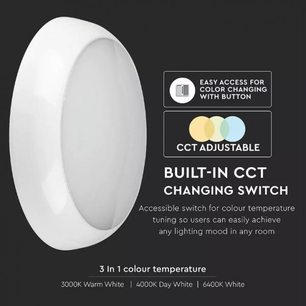 15W LED Dome Light CCT 3in1 with Switch - Samsung Chip IP65