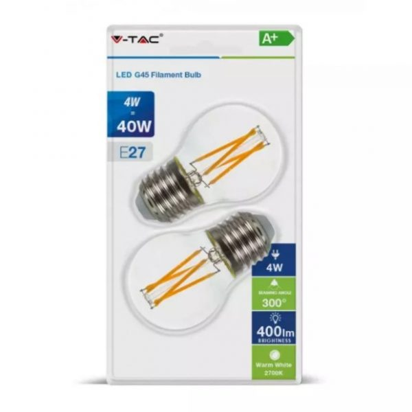 4W G45 Cross Filament LED Bulb Clear Glass E27 2700K Blister Pack