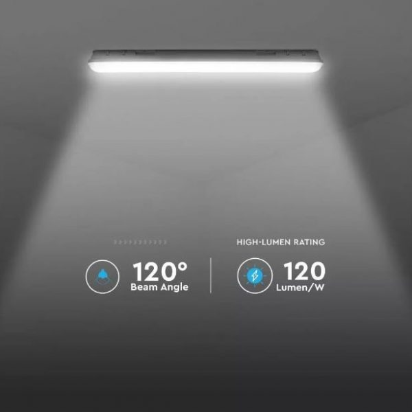 36W LED Waterproof Fitting 4ft/120cm - Milky Cover + SS Clips - Samsung Chip