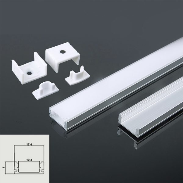 Shallow Aluminium LED Channel Square set 2000x17.4x7mm - Milky Diffuser Cover