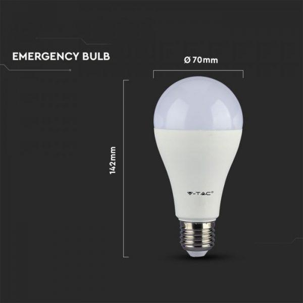 9W LED Plastic Bulb with Emergency Battery A70 E27