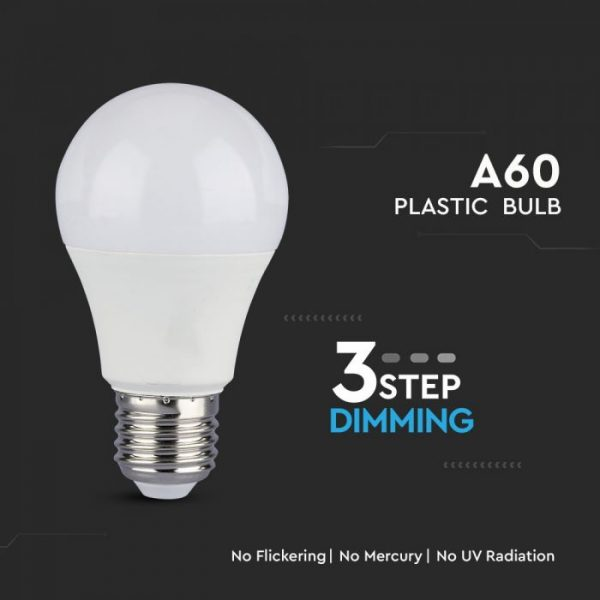 9W A60 LED Plastic Bulb 3 Step Dimming E27