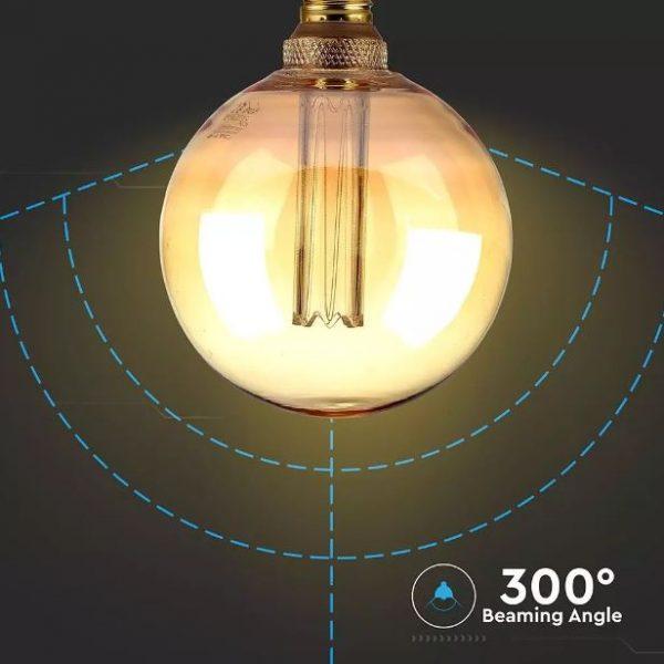 4W G125 LED Art Filament Bulb Amber Glass E27 1800K