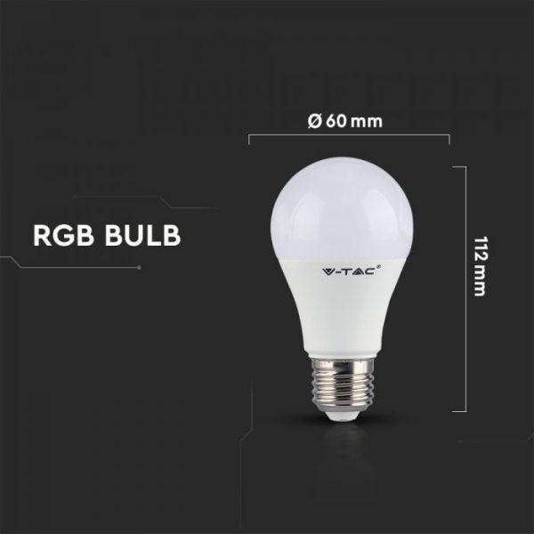 6W A60 LED Plastic RGB Bulb (Remote Control Dimmable) E27