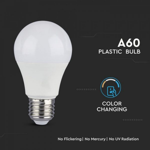 9W A60 LED Plastic Bulb 3in1 CCT Dimming E27