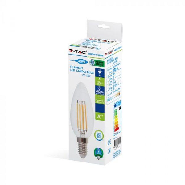 4W LED Candle Filament Bulb Clear Cover E14