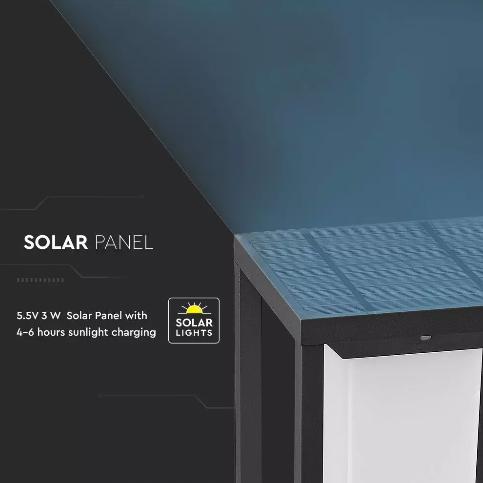 2W Led Solar Bollard Light Samsung Chip 3000K Grey Body