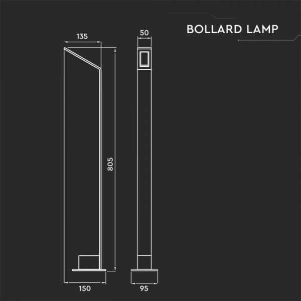 7W Led Bollard Lamp IP65 4000K Grey & Black Finish