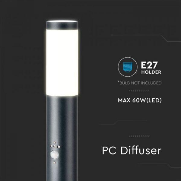 Bollard Lamp with PIR Sensor Stainless Steel Body E27 Holder