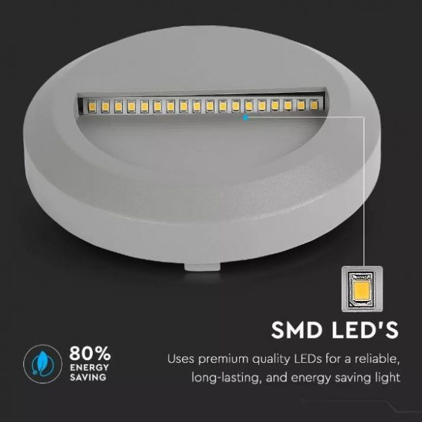 2W Led Step Light Round IP65 55˚ Beam Angle