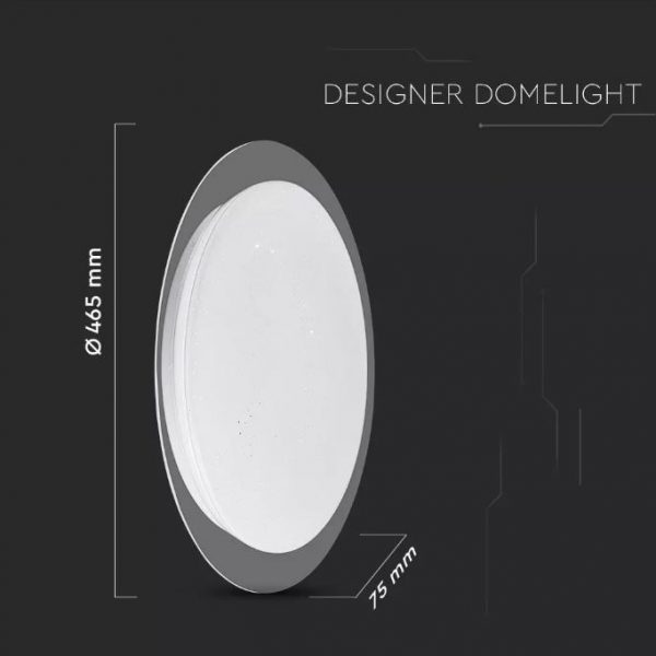 LED Designer Domelight 465mm 20W/40W/20W, CCT 3in1 Dimmable with Remote Control IP20 Starry Cover