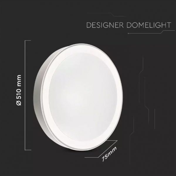 LED Designer Domelight 510mm 30W/60W/30W, CCT 3in1 Dimmable with Remote Control IP20