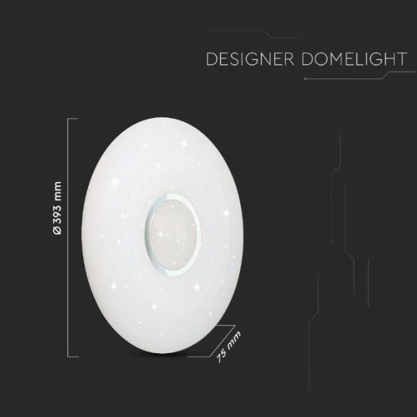 LED Designer Domelight 393mm 20W/40W/20W, CCT 3in1 Dimmable with Remote Control IP20 Starry Cover