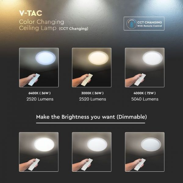 LED Designer Domelight CCT 3in1 36W/72W/36W, Dimmable with Remote Control IP20 Starry Cover