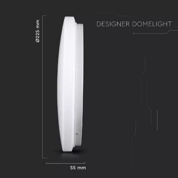 12W LED Dome Light 23cm Milky Cover CCT 3in1 Round
