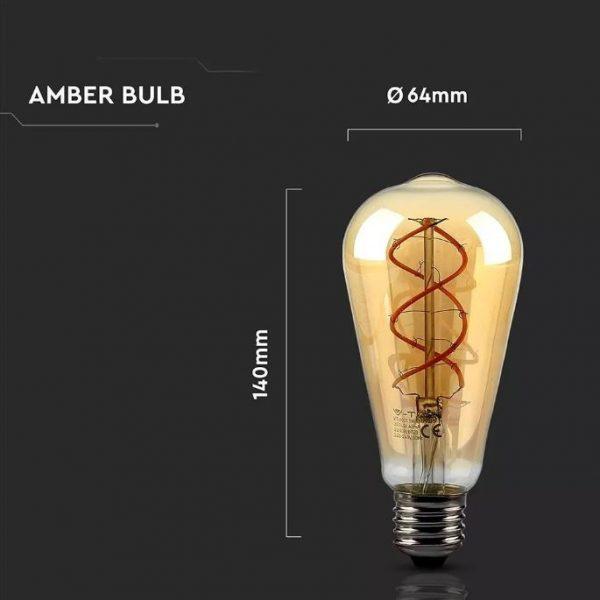 5W Amber LED Bulb Curve Filament ST64 2200K (warm white)