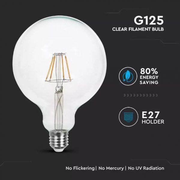 6W Led Bulb G125 E27 Clear Glass 6400K