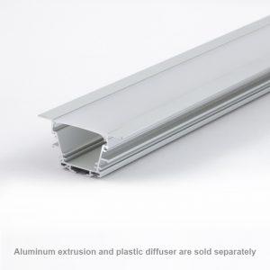 Plastic diffuser OPAL for wide recessed aluminium profile 50mm