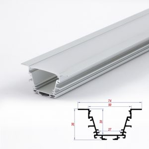 Wide Recessed Profile for LED Lights Aluminium channel extrusion 74 x 36 mm