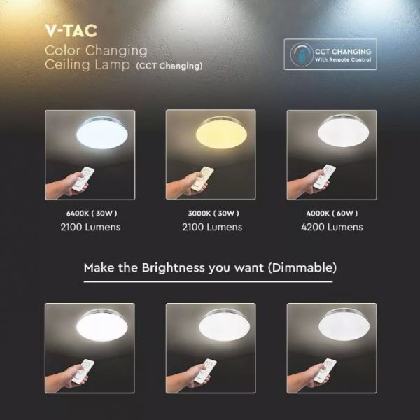 60W LED Dome Light CCT 3in1 Wave Cover Dimmable with Remote Control IP20