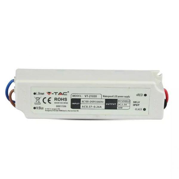 30W LED Waterproof Power Supply 12V 2.5A IP67 Plastic 2 Years Warranty